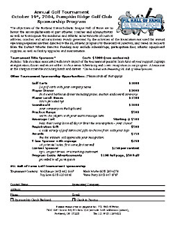 PILHOF Golf Tournament sponsorshop form