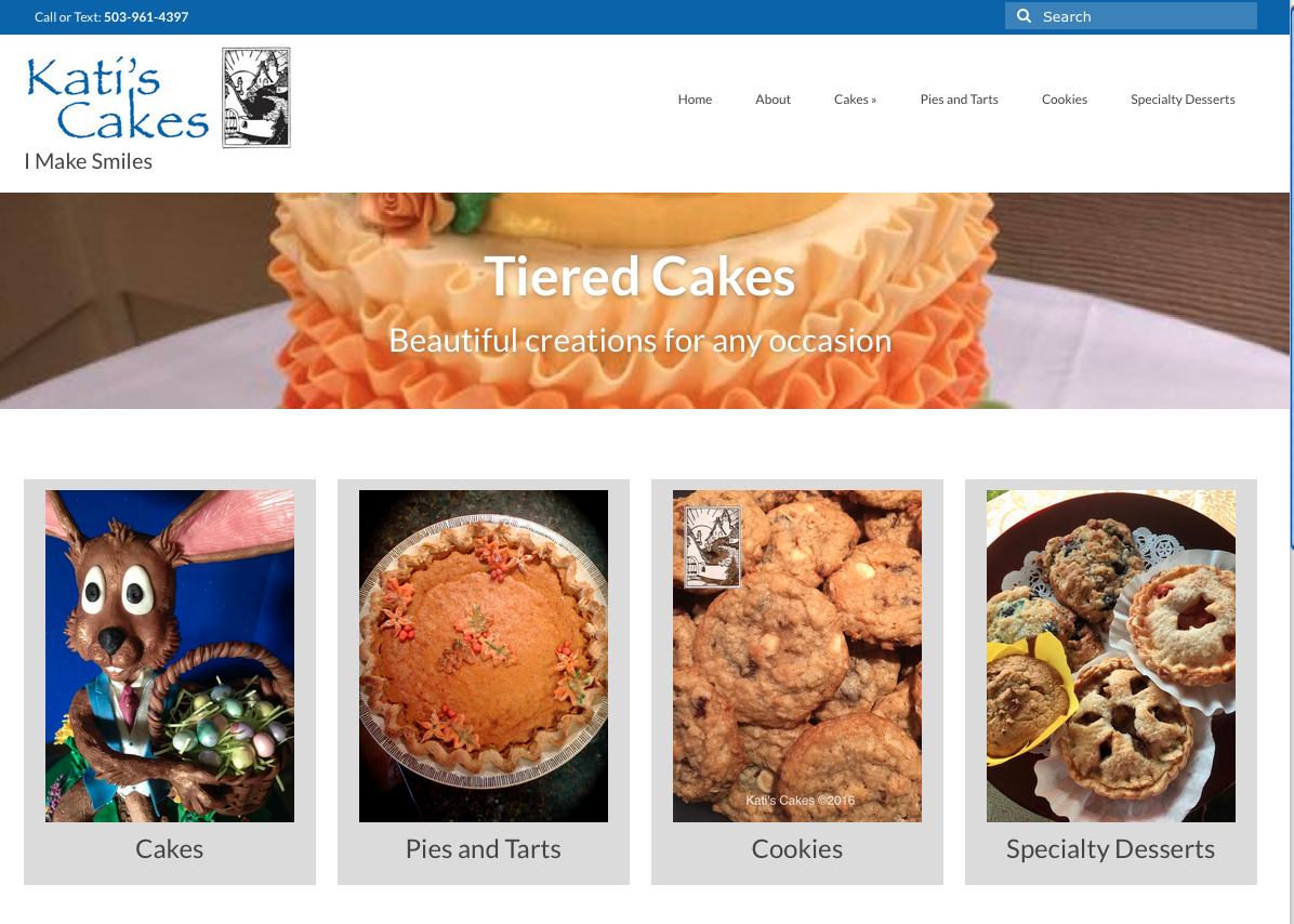 Remodeled Kati's Cakes website screenshot