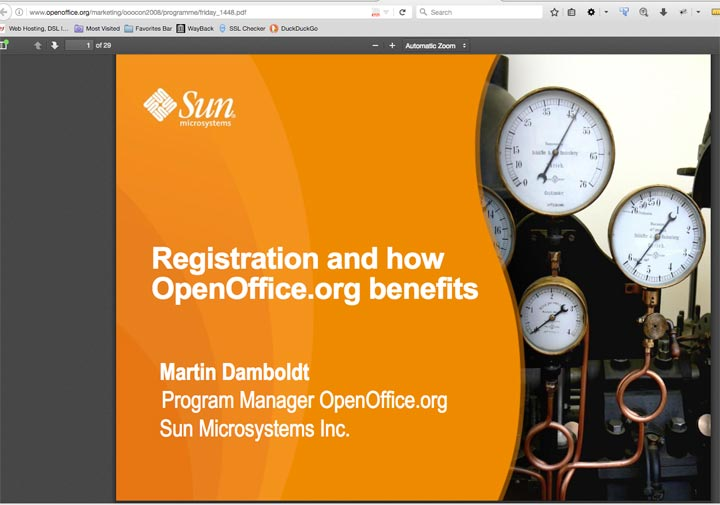 """Registration and how OpenOffice.org Benefits"" Marketing Presentation Cover page"